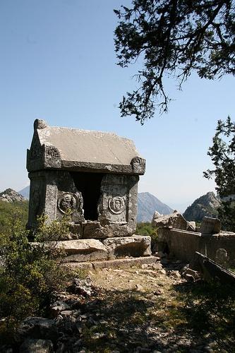 Sarcophagi with Medusa motif high atop Termessos, Turkey