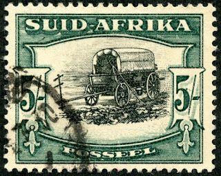 "Union of South Africa  1933 Scott 64 (SG 64) 5/- green & black ""Ox Wagon"" Photogravure; Die I"