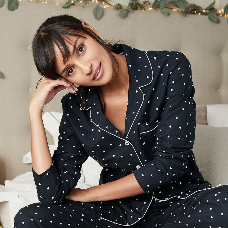 Brushed Heart Flannel Pyjama Top | Nightwear New In | The White Company UK