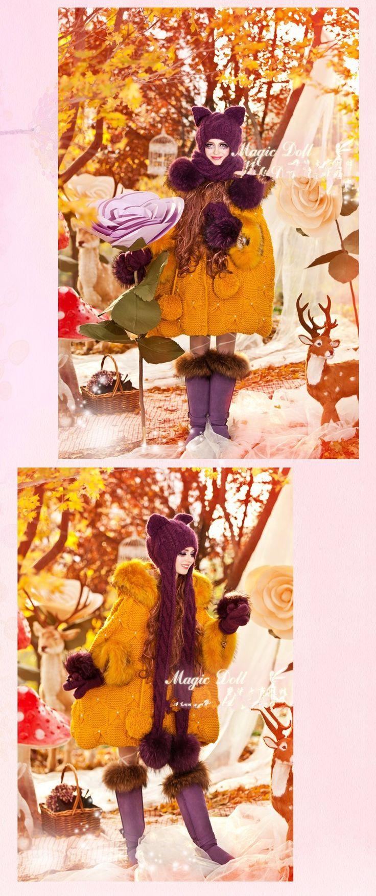 Фиолетовый тяжёлый волос мяч наушники коса шарф cat уха мэджик угловой из шерсть вязаные шапки и перчатки купить на AliExpress