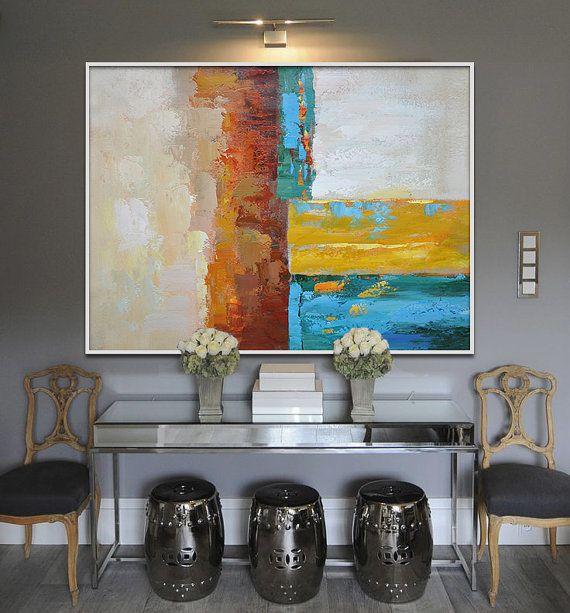 Handmade Large Painting, Original Art, Large Canvas Art. Contemporary Art, Modern Art Abstract Painting. Yellow, blue, orange, green, red.