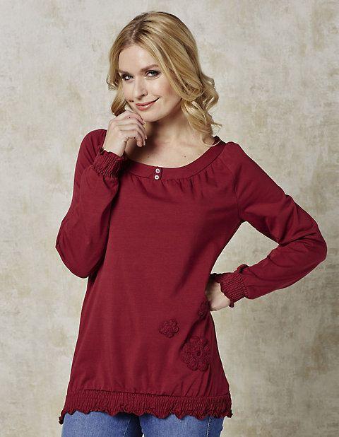 Deerberg Jersey-Shirt Katinka dunkelrot