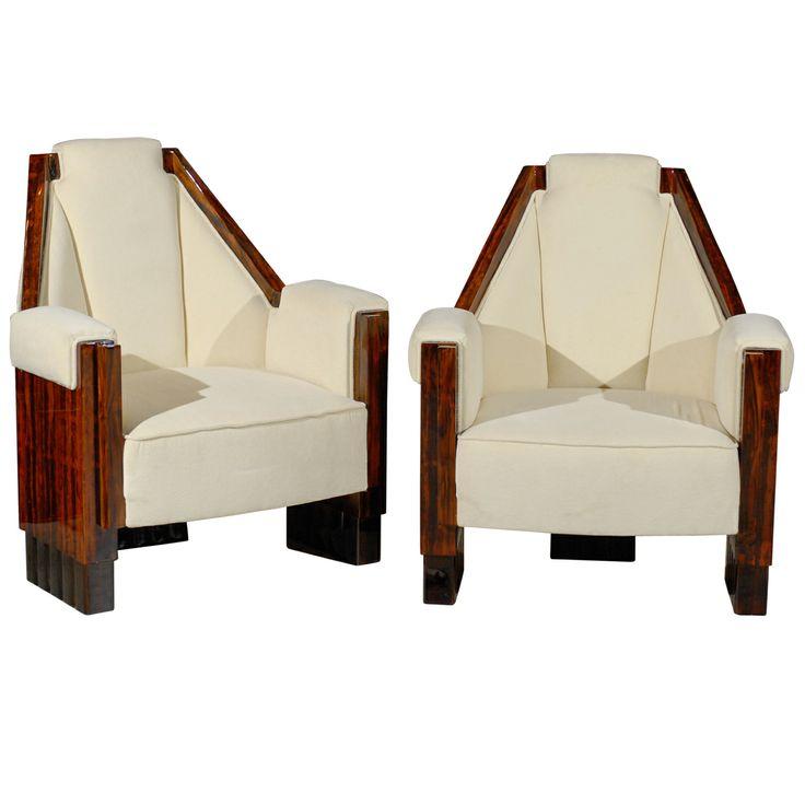 Pair of Art Deco Angular Chairs   1stdibs.com