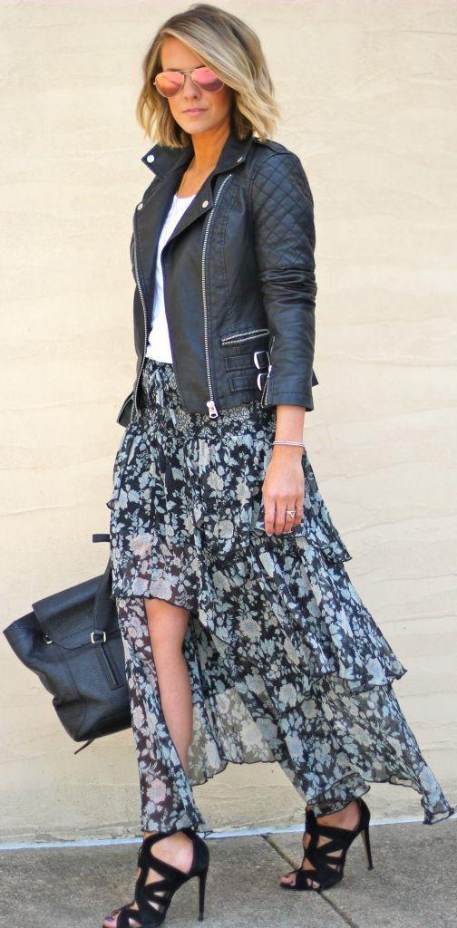 Denim Biker jacket + ivory dress