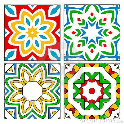 Spanish Patterns | Four different Spanish / Moorish style ceramic tile patterns found in ...