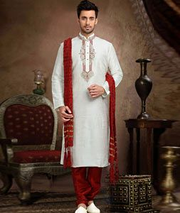 Buy White Dupion Readymade Kurta With Churidar 73776 online at lowest price from our mens wear collection at…