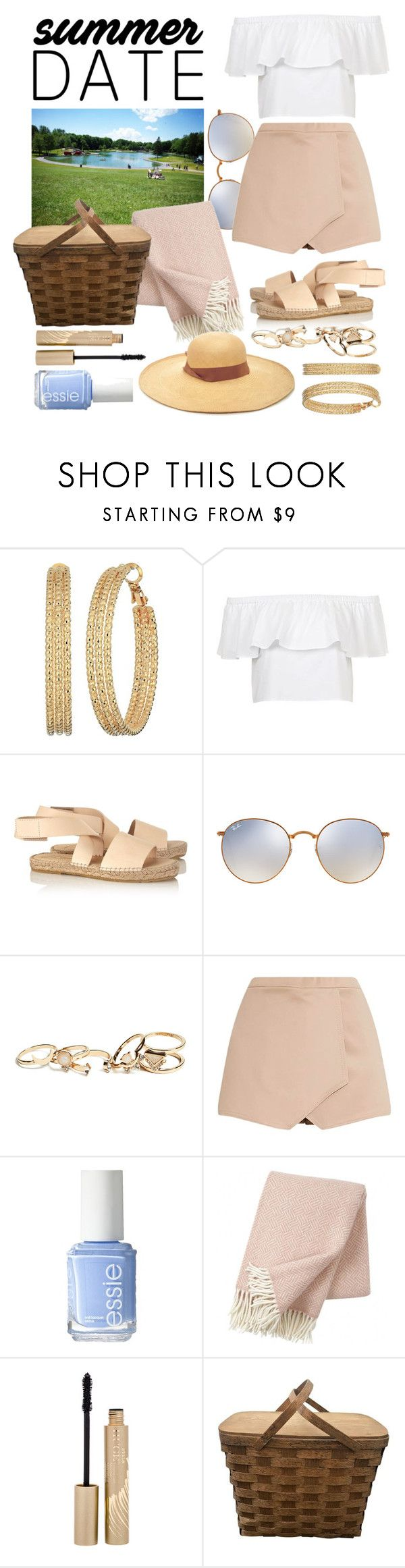 """Picnic in Mount Royal Park"" by zooboolakiss ❤ liked on Polyvore featuring GUESS, Topshop, Prism, Ray-Ban, Essie, Klippan, Stila and Sensi Studio"