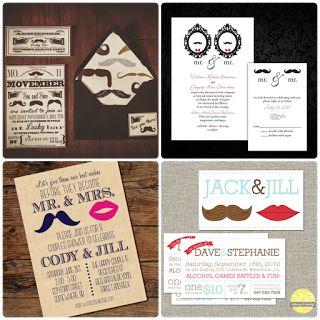 Ejemplos de invitaciones para la fiesta. Bien si sólo invita uno como la pareja, el bigote debe de estar presente. (Eventos Happy Ever)