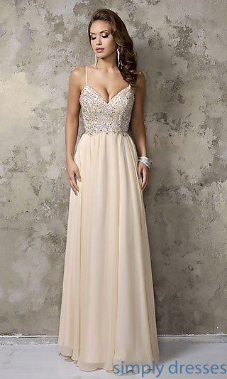 Shop champagne-nude formal dresses and pageant dresses at Simply Dresses. V-neck long party dresses and evening gowns for weddings and formals.