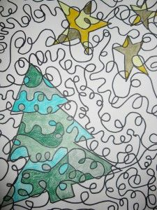 One Line Project with Christmas Shapes:  Learning Goals: Organic Shape, Repetition of Line, Color Scheme (Choose one)