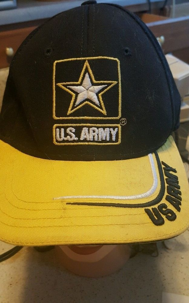 Vintage U.S. Army Adjustable Velcro Baseball Cap/Hat yellow, black, recruiter  #Unbranded #BaseballCap