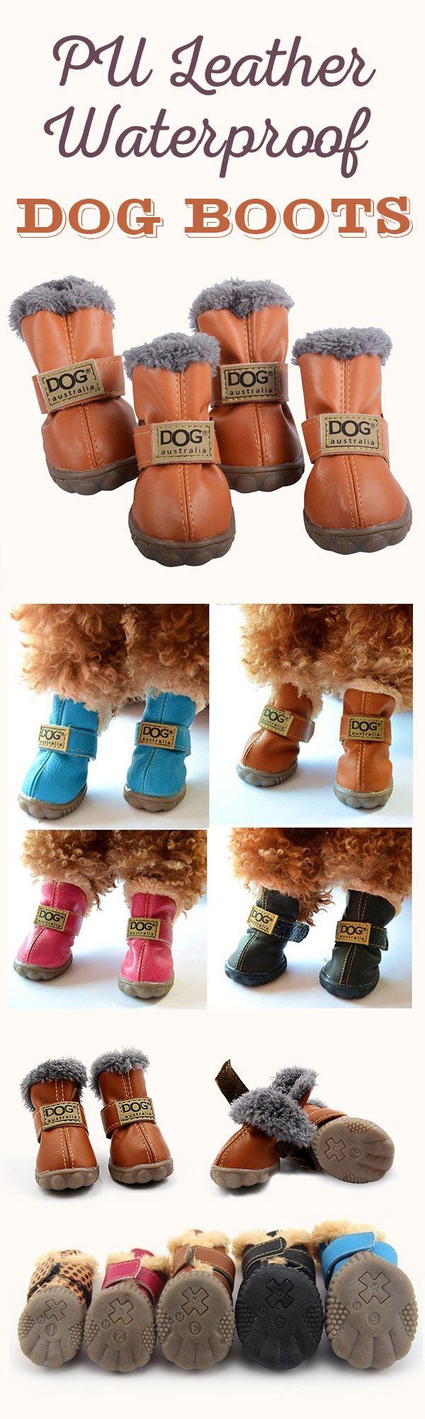 PU Leather Dog Waterproof Boots Winter Soft Warm Anti-slip Snow Booties Shoes 4Pcs#newchic#pet#waterproof