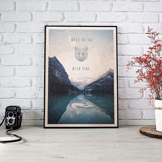 Landscape with a Polygonal Bear Poster on Wood Polygonal Bear