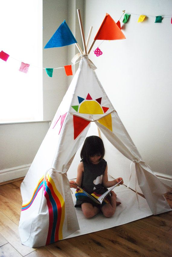 Rainbow play tent  teepee by wildthingsdresses on Etsy, $225.00
