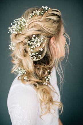 Bridal hairstyle, wedding hairstyle, braided, boho wedding, romantic, waves, flowers in hair, gypsophila