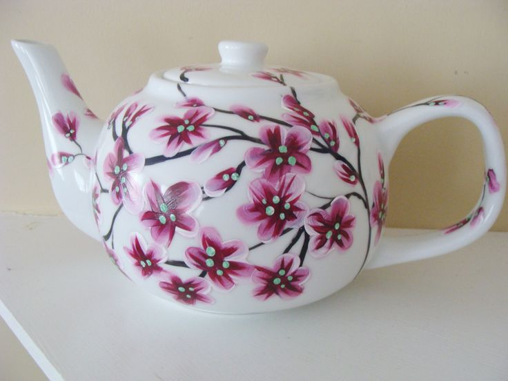 Cherry Blossoms Teapot, Mothers day, asian decor, nature, trees, tree branches, blossom branches, pretty, tea, entertaining, housewarming by CANADIANCREATIONZ on Etsy