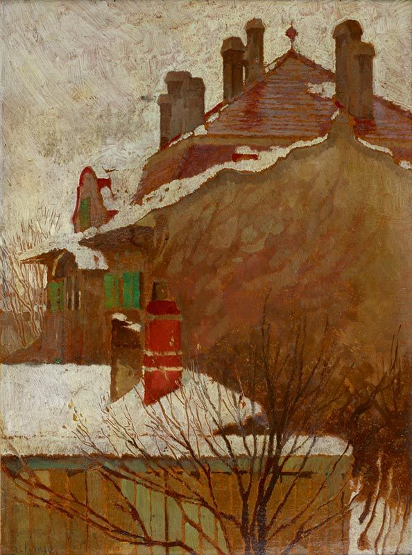 Egon Schiele (Austrian, 1890-1918) Houses in winter (view from the studio) (Häuser im Winter (Blick aus dem Atelier)), 1907/1908