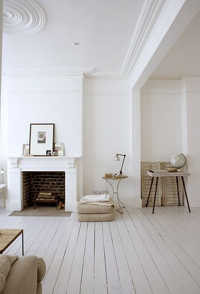 <3 White lounge and fireplace. Love the painted white floorboards and the ceiling rose