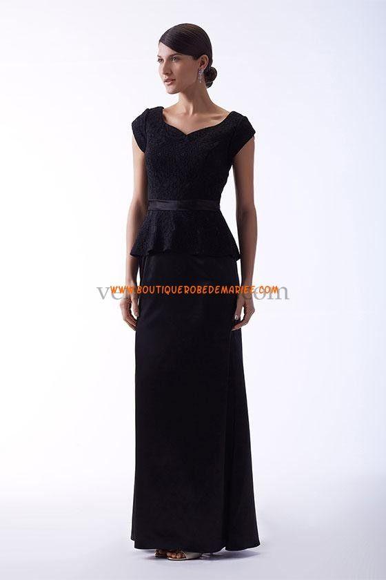 Robe demoiselle d'honneur longue avec ceinture satin dentelle