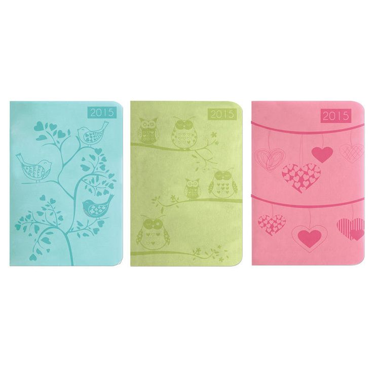 A5 Week to View (Across 2 Pages) Soft Padded Embossed Design Calendar Diary 2015