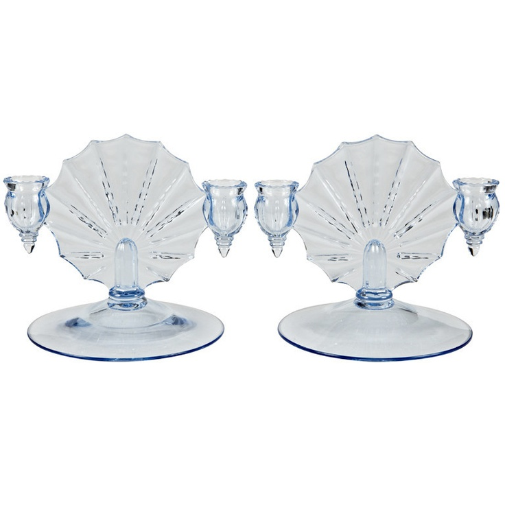 Blue Glass Art Deco Candlesticks, Pair