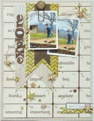 Great Colours! #Papercraft #Scrapbook #Layout if you like scrapbooking, check out www.brickroadcreativestudios.com