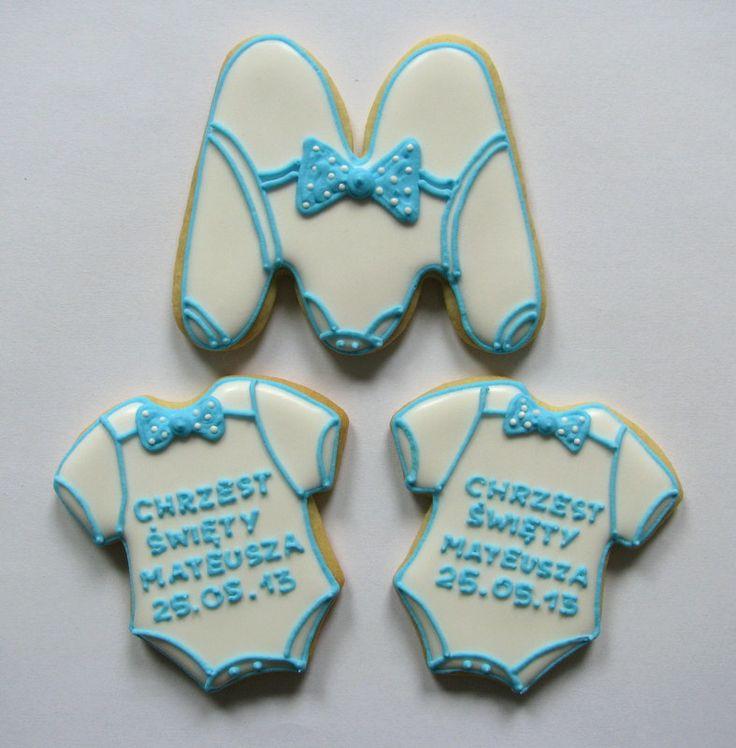 christening baby boy cookies