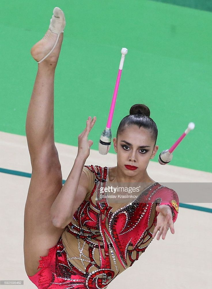 Russia's athlete Margarita Mamun with clubs in the rhythmic gymnastics individual all-around final (Rotation 4) at Rio Olympic Arena at the 2016 Summer Olympic Games. Stanislav Krasilnikov/TASS