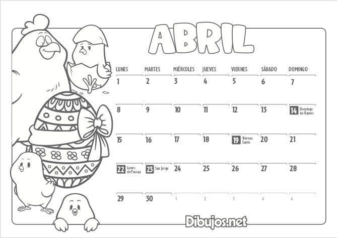 Calendario Dibujo 2019.Calendario Infantil 2019 Para Imprimir Y Colorear Dibujos