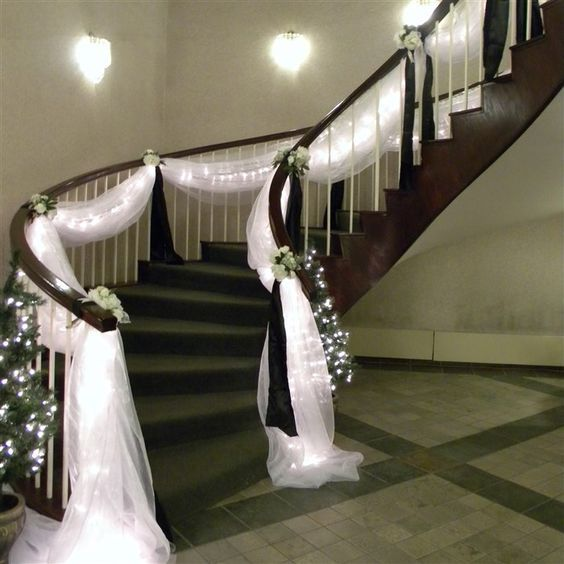 163 best wedding staircases decor images on pinterest casamento decorate staircase for wedding junglespirit Gallery