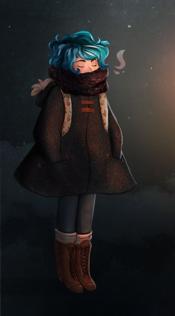 blue hair girl on a cold winter night illustration