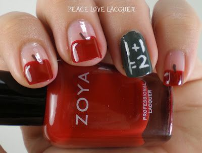 Peace Love Lacquer: Falling Forward Nail Art Challenge: Day 4 - Back to School