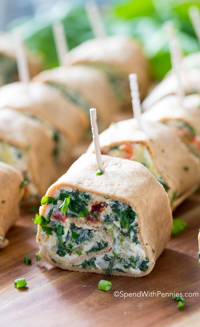 Tender flatbread filled with creamy spinach & artichoke dip, rolled into pinwheels. This easy appetizer is the perfect addition to your next party.