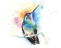 HUMMINGBIRD PRINT - aquarel kolibrie kunst aan de muur met kolibrie minnaar cadeau, vogel decor, vogelliefhebber, aquarel vogel schilderen