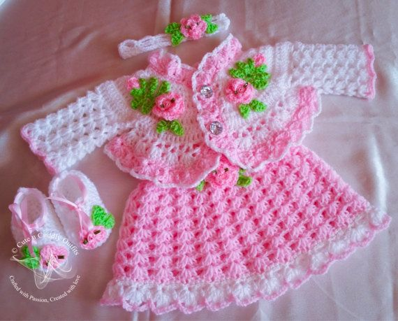 This listing is for the INSTANT PDF DOWNLOAD of a beautiful Crochet Pattern ROSEBUDS, NOT THE FINISHED ITEM. This baby crochet pattern includes the patterns for 1. Baby crochet Dress 2 Baby Crochet cardigan/ shrug 2. Crochet headband 3. Crochet shoes/ booties This baby dress pattern will make a great Christmas dress/ Birthday dress/ baby shower/ baby girl gift. Your baby girl is bound to be the centre of attraction in this one of a kind Flower baby dress. This Croche...