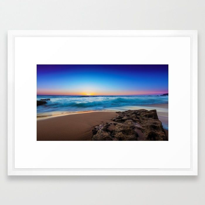 A Day At The Beach Framed Art Print by Mixed Imagery | Society6