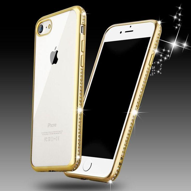Lujo bling diamond case para iphone 7 roybens/iphone 7 plus cubierta suave de tpu transparente oro rosa para iphone 6 6 s delgado claro - envíos gratis en todo el mundo