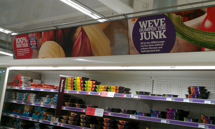 Header signage with ethical message in Sainsbury's (2012)