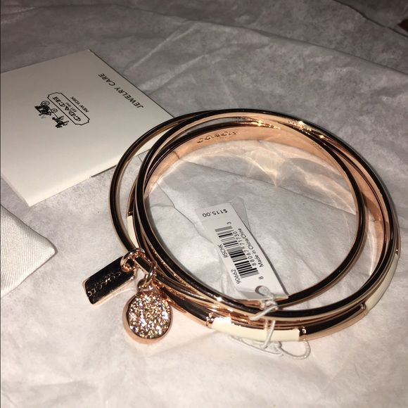 NWT COACH rose gold (3) bundle bangle Absolutely gorgeous COACH rose gold bangles. Comes in a bundle of (3) still with tags attached. Will come shipped in COACH bracelet pouch along with original box and shopping bag! Coach Jewelry Bracelets