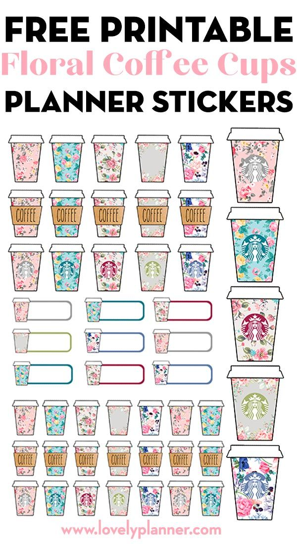 Free Printable Floral Starbucks Coffee Cups Planner Stickers Diy