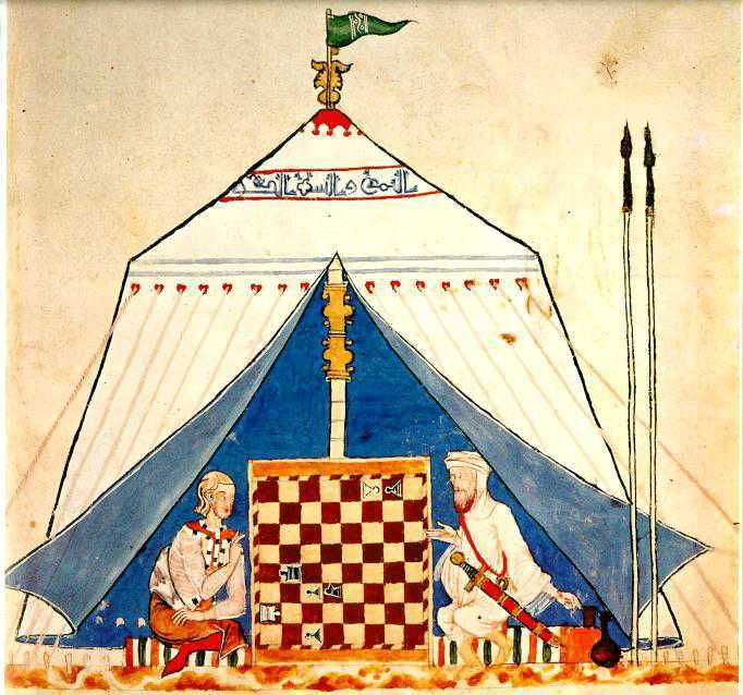 Another cultural constrast. The two men are seated in a typical Muslim tent -- this style appears also in Persian art from both earlier and later -- which is decorated with a band of writing around the top. The Muslim is in a long loose tunic with wide sleeves. He may wear an under-tunic as well--look at his extended arm -- I can't tell if it's sheer with wide sleeves or has tight sleeves. He wears a headwrap and a cloth that covers the sides of his head, his neck and his shoulders. His long…