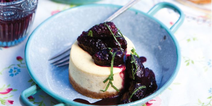 Vanilla cheesecake with blackberry compote, recipes by chef Shaun Rankin