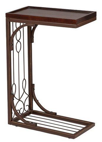 Столик приставной металлический с деревянной столешницей