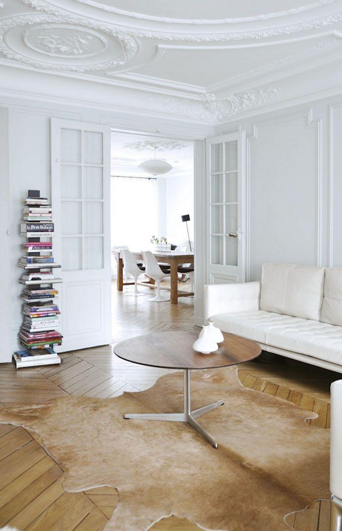 Minimal White Apartment Home Parisian Interior Apartment