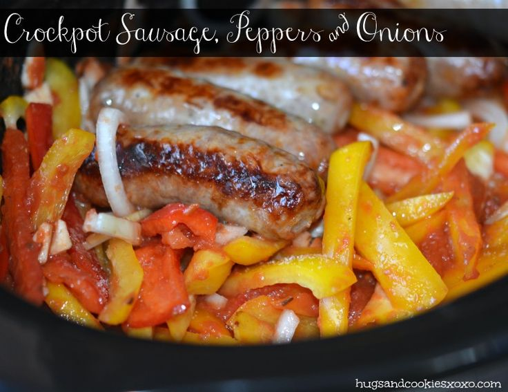 Sausage and peppers in slow cooker. This would be a great way to make brauts.