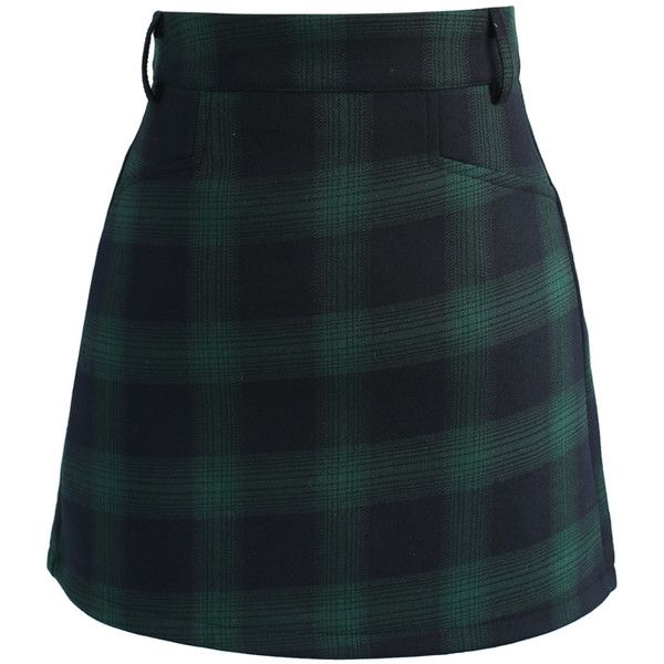 Chicwish Classy Tartan Bud Skirt in Green (509.915 IDR) ❤ liked on Polyvore featuring skirts, mini skirts, bottoms, green, short skirts, short plaid skirt, green tartan skirt, mini skirt and holiday skirts