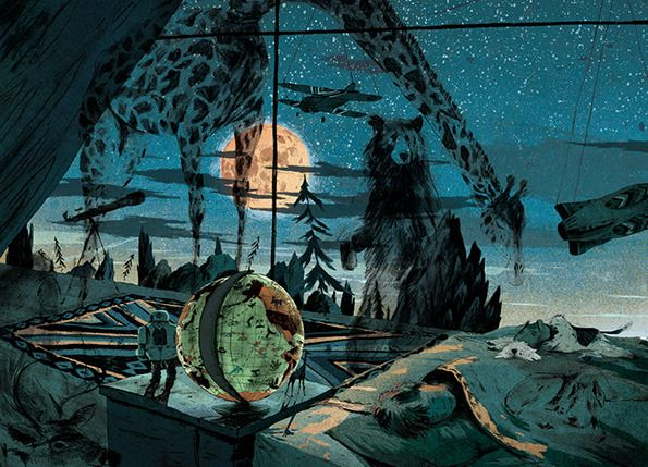 It's Nice That : Introducing: Anton Van Hertbruggen's beautiful, spacious illustrations of star-gazing in surburbia