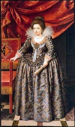 """Ritratto di """"Elisabetta di Borbone, principessa di Francia"""" dipinto da Frans Pourbus nel 1611. La principessa indossa una serie di preziosi gioielli appartenuti alla madre Maria de' Medici. Museo delle belle arti Valenciennes."""