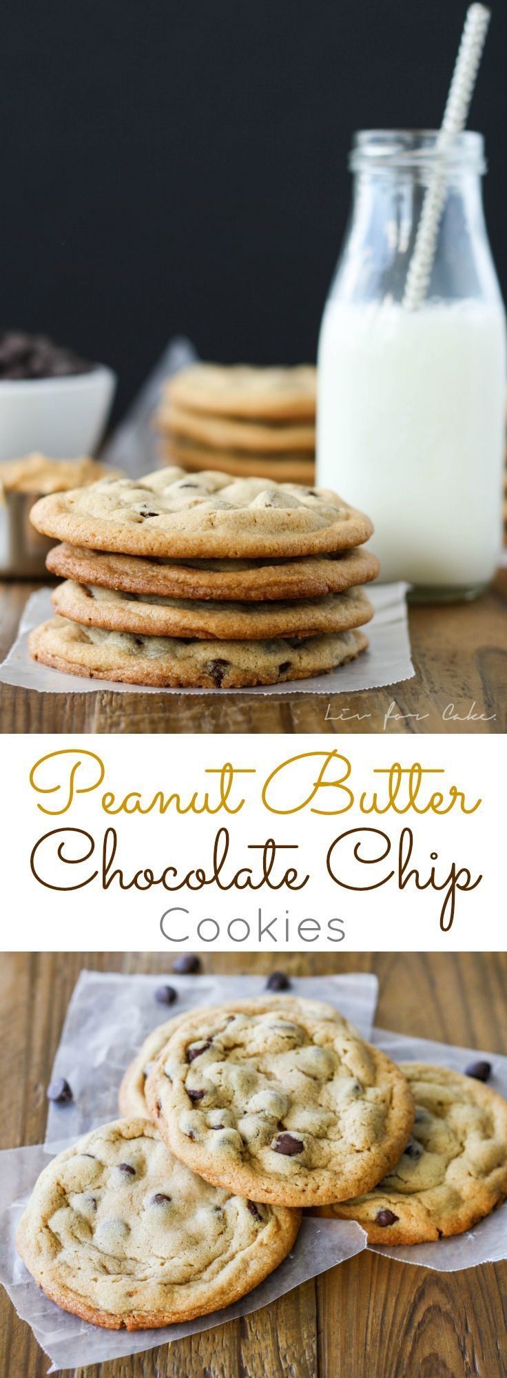 The ultimate chewy peanut butter chocolate chip cookie. Sweet, peanutty, and delicious. | livforcake.com
