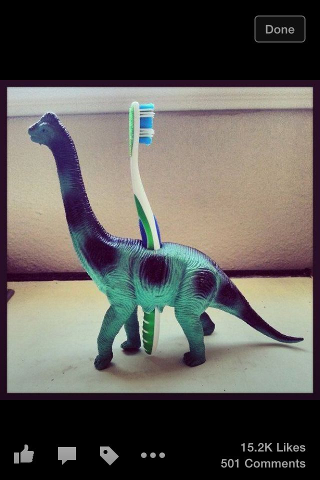 Drill a hole in any toy to make a toothbrush holder fun for kids!